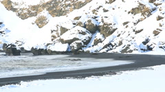 Black sand beach in South Iceland Stock Footage
