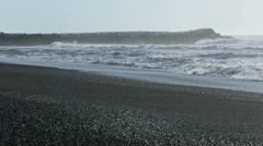 Waves at the black sand beach in Vik, Iceland Stock Footage