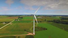 Giant Wind Turbine, Windmill; Closeup, Breathtaking Aerial View Stock Footage