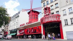 The Moulin Rouge (in 4k) in Paris, France. Stock Footage