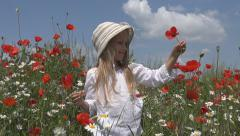 Happy Girl, Child Playing in Poppy Flower Field, Meadow, Children Slow Motion Stock Footage