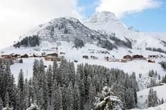 The picturesque alpine village of Warth-Schrocken, in Austria - stock photo