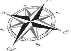 Wind rose compass retro design vector - stock illustration