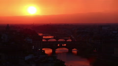 Tracking Shot Time Lapse Aerial Skyline of Arno River Stock Footage