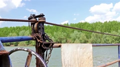 Detail on manual ferryboat Stock Footage