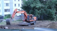 Excavator digging the ground Stock Footage