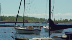 Boats going out on the lake. 4K UHD. Stock Footage