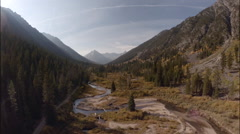 Autumn Idaho Mountain River Scenic Aerial Reverse Stock Footage