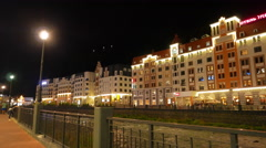Mercure Rosa Khutor Hotel. Night. Sochi, Russia. 4K Stock Footage