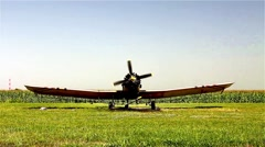 Old crop duster on ground. Stock Footage