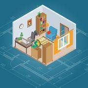 Stock Illustration of Isometric Cabinet Interior