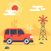 Car stucks in the mexican desert - stock illustration