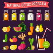 Natural detox programm - stock illustration
