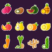 Set of organic food inlines - stock illustration