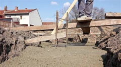 Concrete is leveling after pouring. Stock Footage