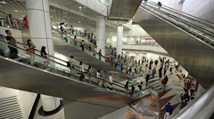 Escalator time lapse of crowded people - stock footage