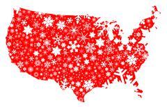 America Map Christmas - stock illustration