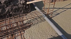 Concrete is spreading in foundation. Stock Footage