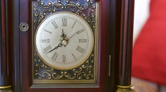 A cool antique clocks hands rotate with time Stock Footage