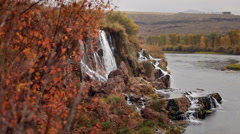 Colorful Autumn Waterfall Snake River, Idaho Stock Footage