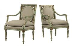 Pair old European green painted distressed chairs Stock Photos