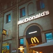 McDonalds restaurant sign. McDonald's Corporation is the world's - stock photo