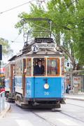 Vintage wooden blue tram, Stockholm, Sweden, Europe. - stock photo