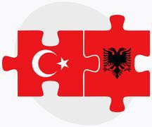 Turkey and Albania Flags - stock illustration