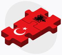 Stock Illustration of Turkey and Albania Flags