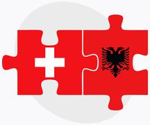 Stock Illustration of Switzerland and Albania Flags