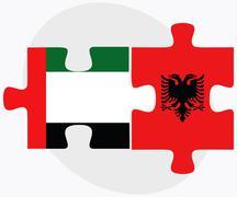 United Arab Emirates and Albania Flags - stock illustration