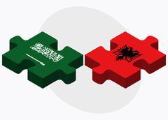 Saudi Arabia and Albania Flags - stock illustration