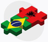 Brazil and Albania Flags - stock illustration