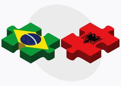 Stock Illustration of Brazil and Albania Flags