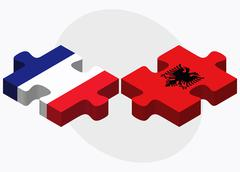 Stock Illustration of France and Albania Flags