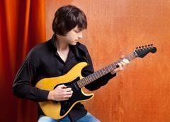 british indie pop rock look young musician guitar player - stock photo