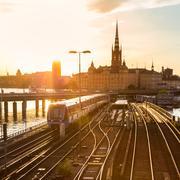 Railway tracks and trains in Stockholm, Sweden. Kuvituskuvat