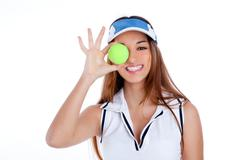 Brunette tennis girl white dress and sun visor cap Stock Photos