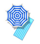 Striped beach umbrella and air mattress - stock illustration