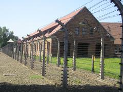 Barracks in Auschwitz I - stock photo