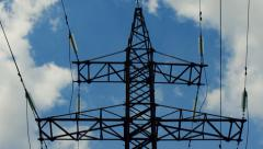 High voltage transmission tower / electricity pylon - stock footage