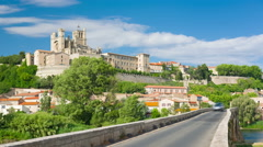 Beziers at a spring day Stock Footage