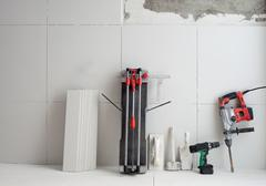 Construction tools as tiles cutter electric hammer drill Kuvituskuvat