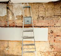 Stock Photo of demolition debris in kitchen interior construction