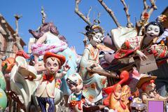 Fallas fest figures on Valencia province - stock photo
