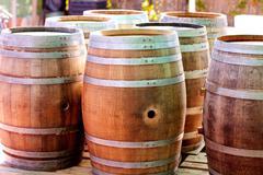 Barrels of oak wood for wine or liquor Stock Photos