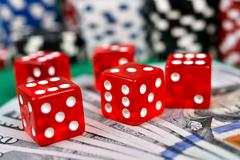 five red dice - stock photo
