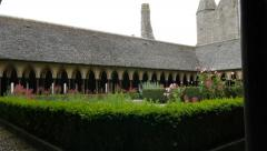 Mont-Saint-Michel  gardens on top abbey  Normandy France 4K 3840X2160 UHD slo Stock Footage