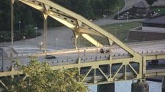 Fort Pitt Bridge Morning Establishing Shot Stock Footage