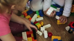children play in the children's designer and cubes - stock footage
